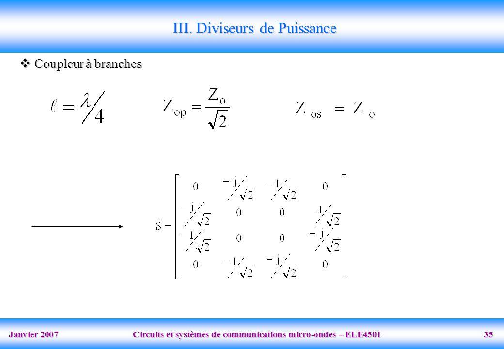 Janvier 2007 Circuits et systèmes de communications micro-ondes – ELE4501 35 III. Diviseurs de Puissance Coupleur à branches Coupleur à branches