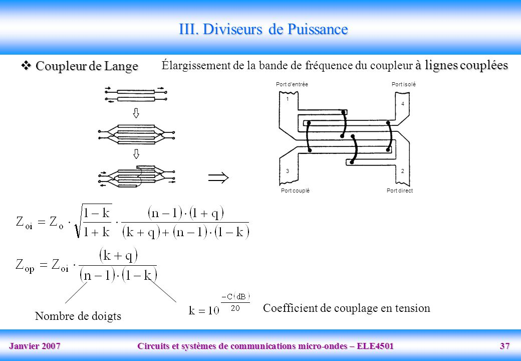 Janvier 2007 Circuits et systèmes de communications micro-ondes – ELE4501 37 Port d'entréePort isolé Port coupléPort direct 1 3 4 2 III. Diviseurs de