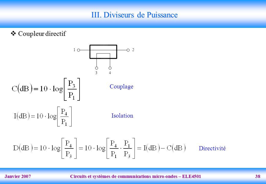 Janvier 2007 Circuits et systèmes de communications micro-ondes – ELE4501 38 III. Diviseurs de Puissance Coupleur directif Coupleur directif 12 34 Cou