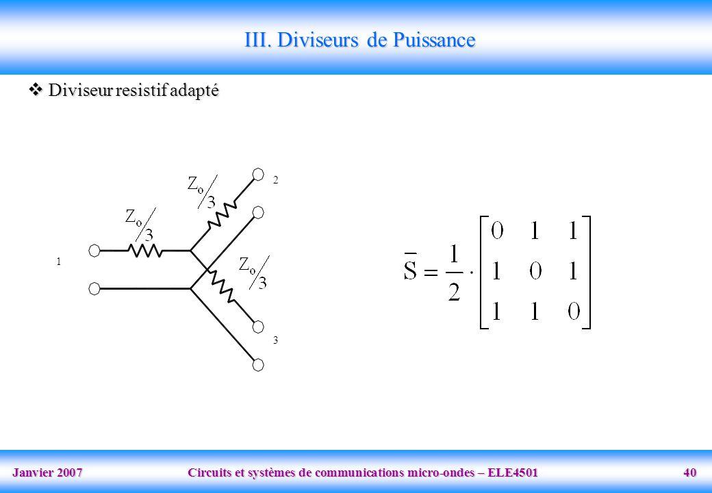 Janvier 2007 Circuits et systèmes de communications micro-ondes – ELE4501 40 1 2 3 Diviseur resistif adapté Diviseur resistif adapté III. Diviseurs de