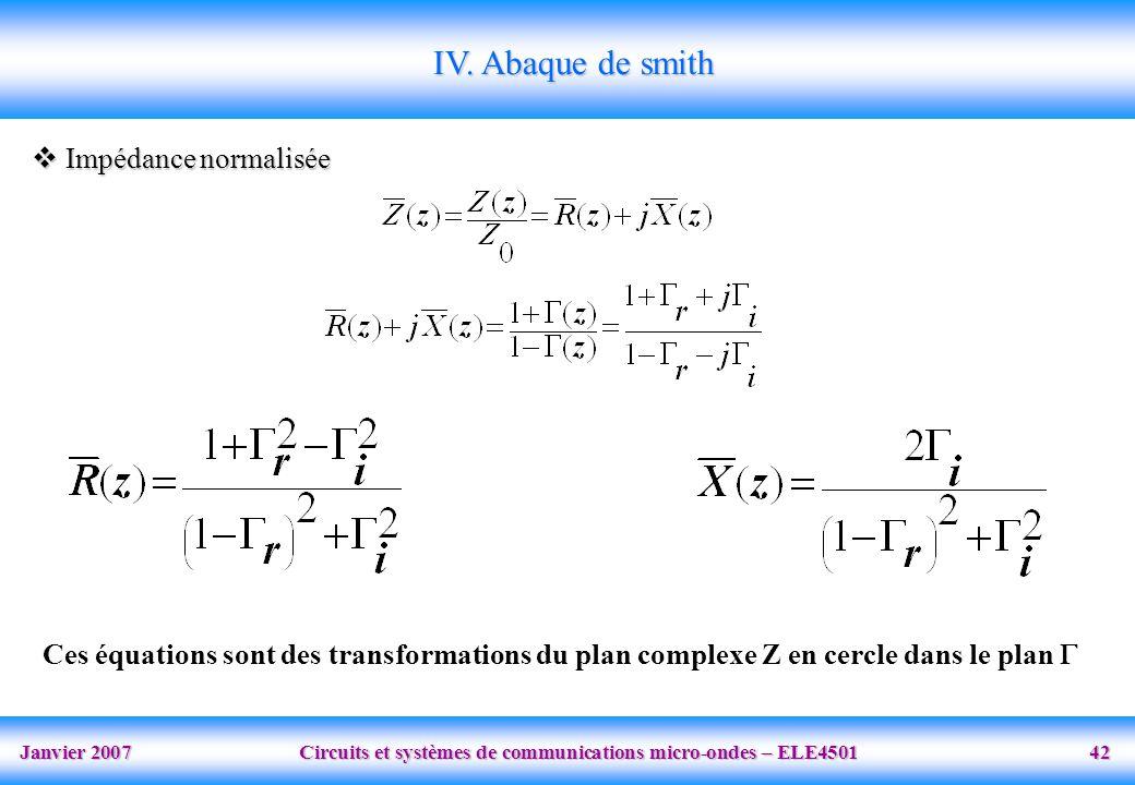 Janvier 2007 Circuits et systèmes de communications micro-ondes – ELE4501 42 Impédance normalisée Impédance normalisée IV. Abaque de smith Ces équatio