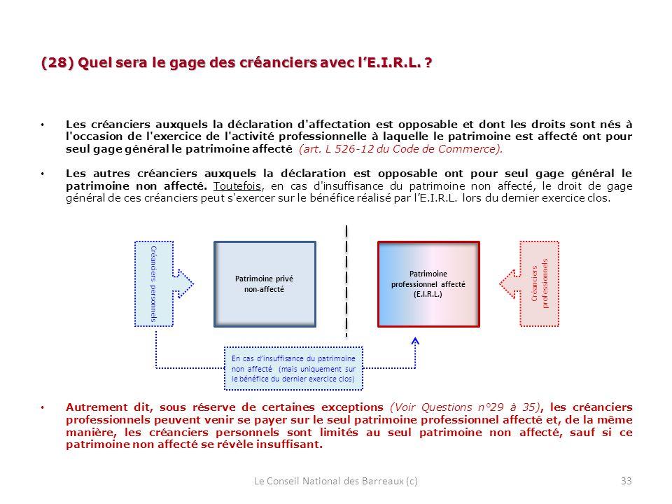 (28) Quel sera le gage des créanciers avec lE.I.R.L. ? Les créanciers auxquels la déclaration d'affectation est opposable et dont les droits sont nés