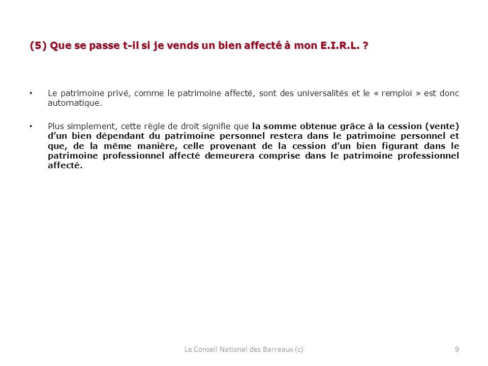 (6) Dois-je faire figurer certaines mentions afin de signaler que jai adopté le régime de lE.I.R.L.