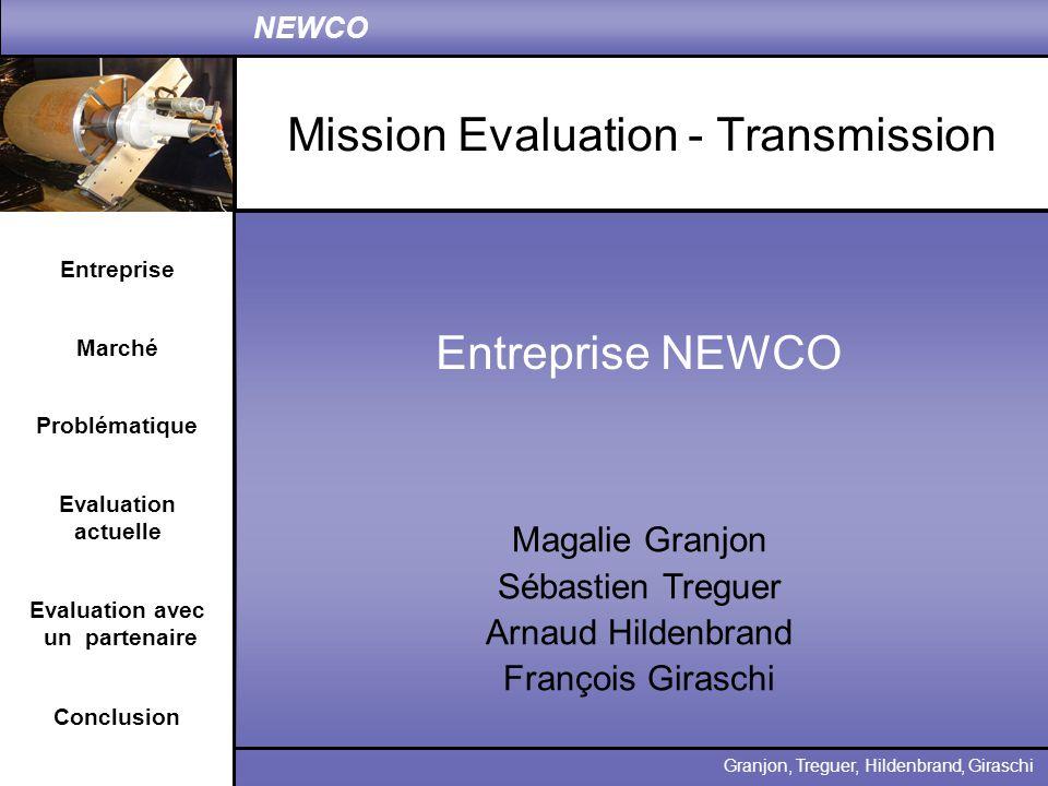 Entreprise Problématique Evaluation actuelle Conclusion Granjon, Treguer, Hildenbrand, Giraschi NEWCO Marché Evaluation avec un partenaire Présentation NEWCO : créée en 1980 fabrication de machines pour lusinage, le soudage, le surfaçage Clients dans les secteurs du Nucléaire et de la Pétrochimie CA : 7,5 Millions (+27%) RN : 416 000 (+113%) Machines spéciales Machines Standard Export représente 65 % du CA de NEWCO