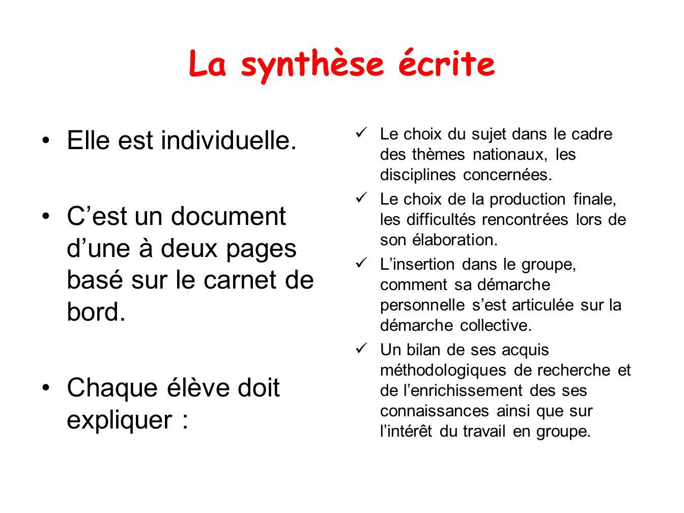 La synthèse écrite Elle est individuelle. Cest un document dune à deux pages basé sur le carnet de bord. Chaque élève doit expliquer : Le choix du suj