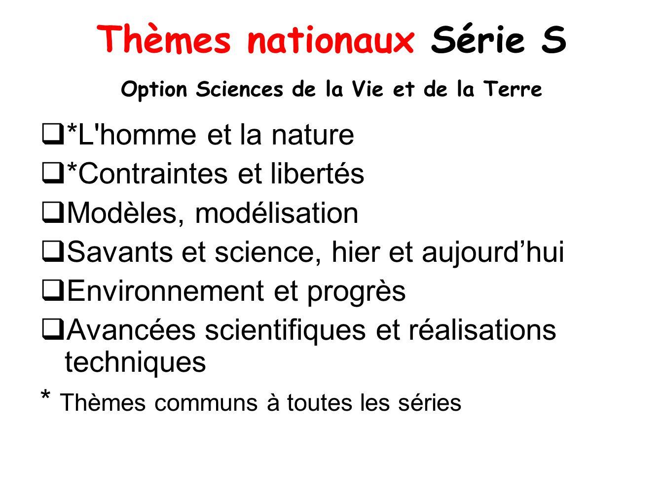 Thèmes nationaux Série S Option Sciences de la Vie et de la Terre *L'homme et la nature *Contraintes et libertés Modèles, modélisation Savants et scie