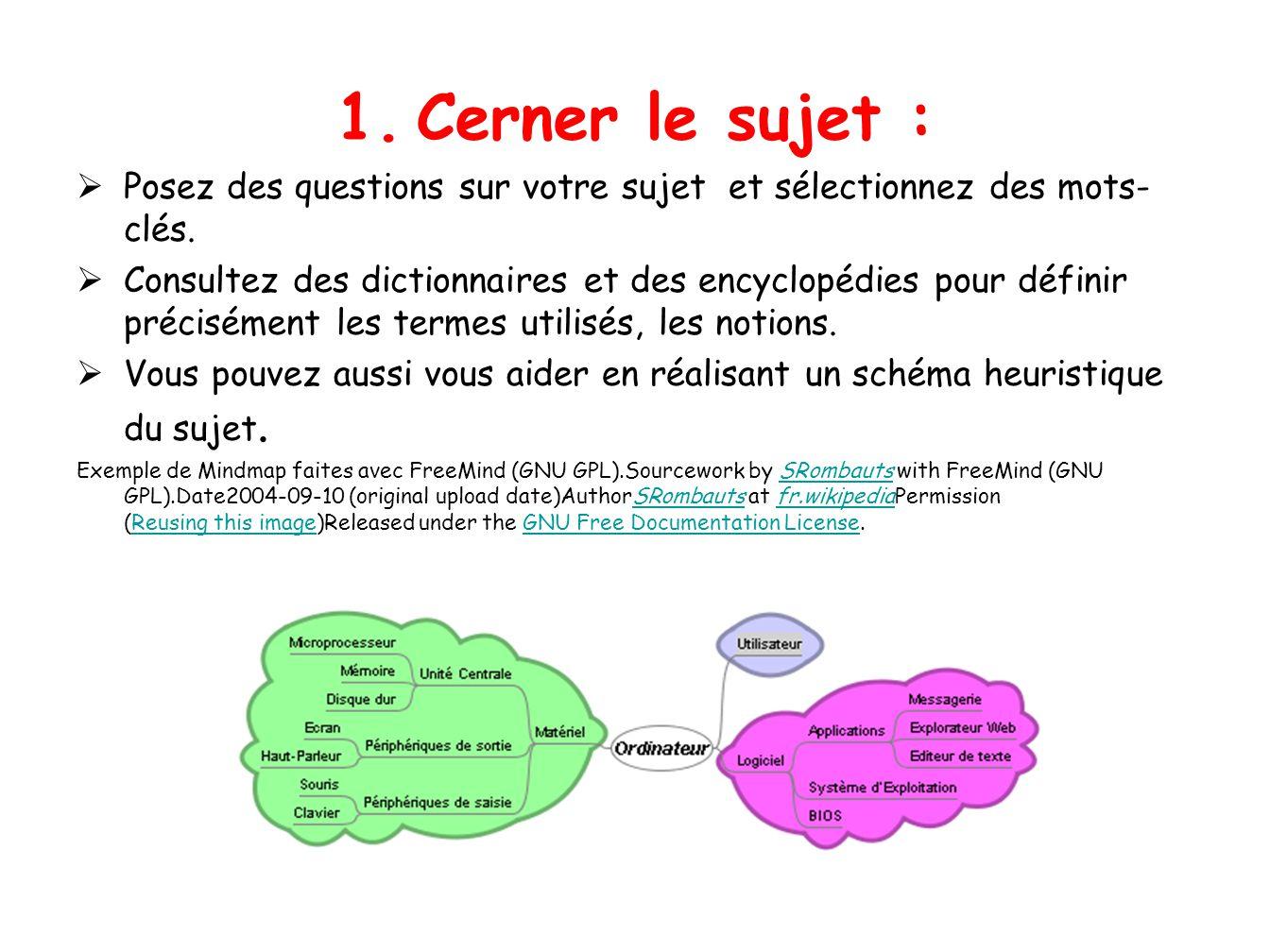 1. Cerner le sujet : Posez des questions sur votre sujet et sélectionnez des mots- clés. Consultez des dictionnaires et des encyclopédies pour définir
