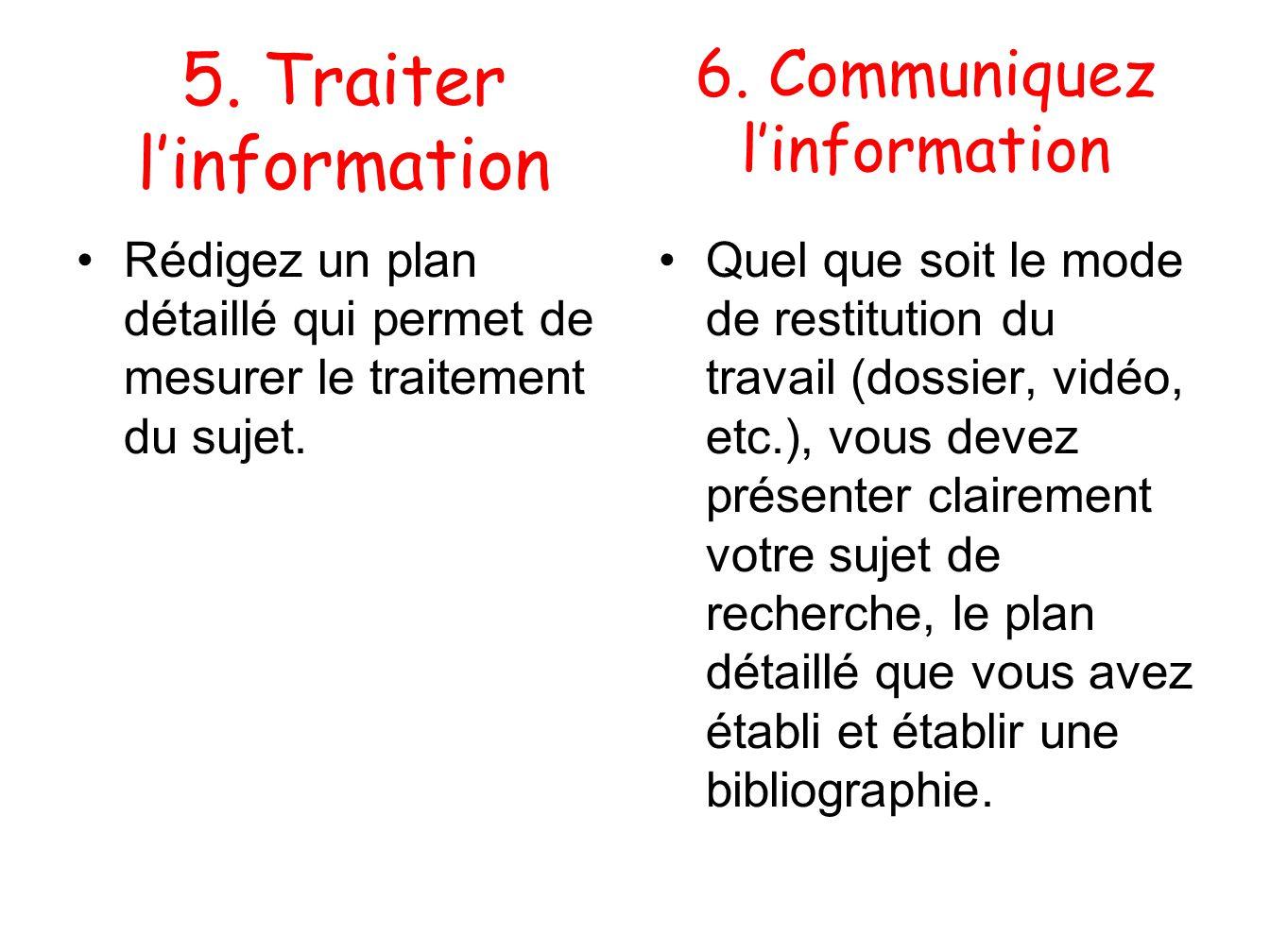 6. Communiquez linformation Rédigez un plan détaillé qui permet de mesurer le traitement du sujet. Quel que soit le mode de restitution du travail (do