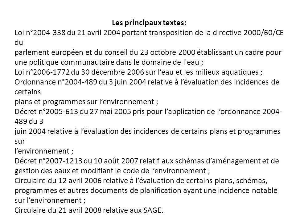 Les principaux textes: Loi n°2004-338 du 21 avril 2004 portant transposition de la directive 2000/60/CE du parlement européen et du conseil du 23 octo