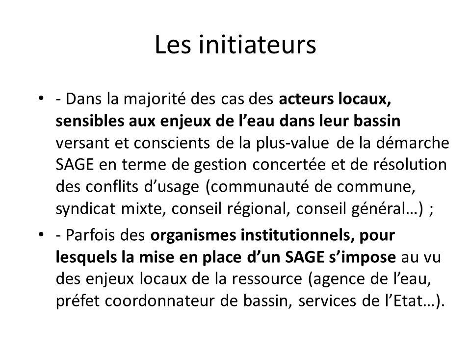 Les initiateurs - Dans la majorité des cas des acteurs locaux, sensibles aux enjeux de leau dans leur bassin versant et conscients de la plus-value de