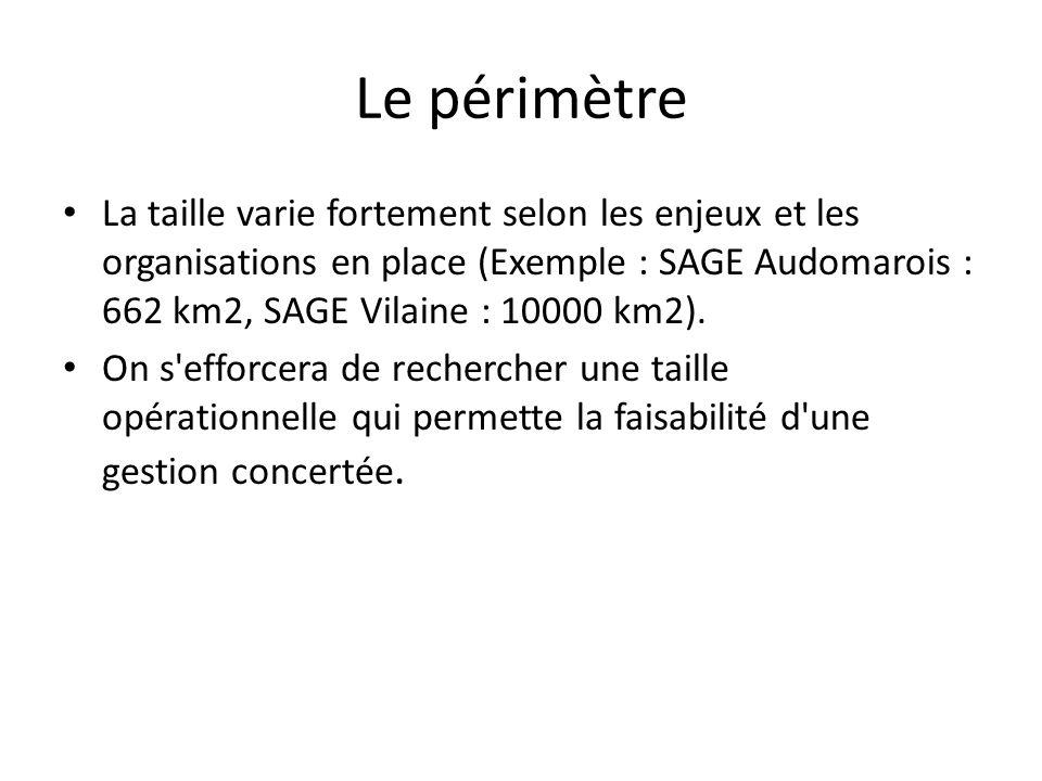 Le périmètre La taille varie fortement selon les enjeux et les organisations en place (Exemple : SAGE Audomarois : 662 km2, SAGE Vilaine : 10000 km2).
