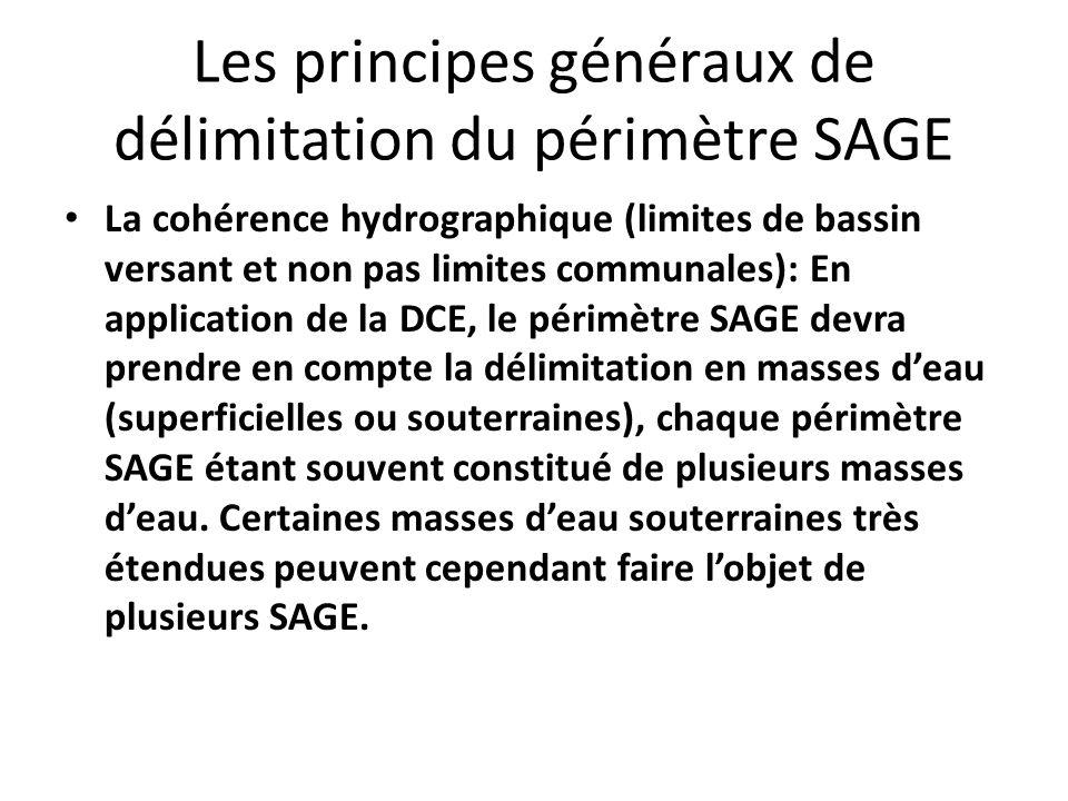 Les principes généraux de délimitation du périmètre SAGE La cohérence hydrographique (limites de bassin versant et non pas limites communales): En app