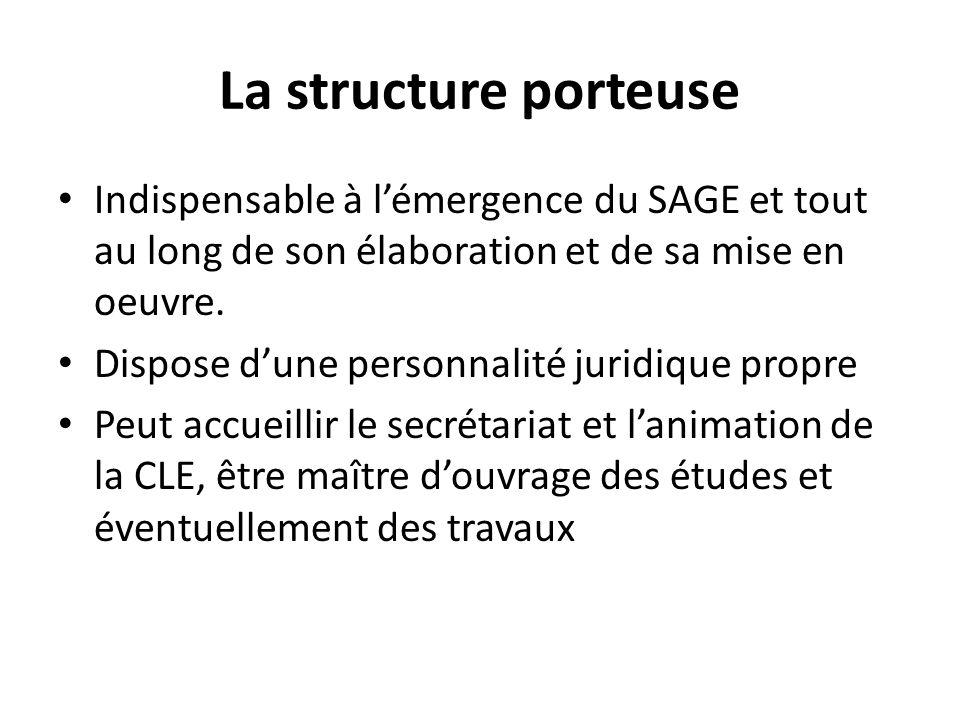 La structure porteuse Indispensable à lémergence du SAGE et tout au long de son élaboration et de sa mise en oeuvre. Dispose dune personnalité juridiq