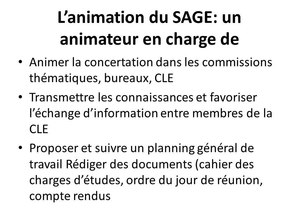 Lanimation du SAGE: un animateur en charge de Animer la concertation dans les commissions thématiques, bureaux, CLE Transmettre les connaissances et f