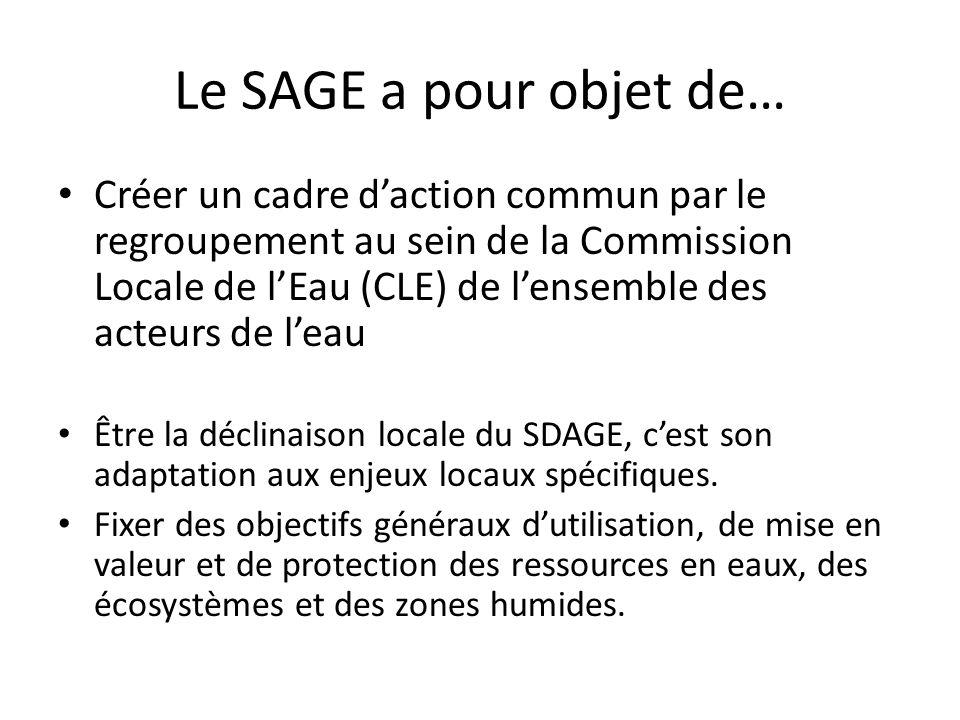 Le SAGE a pour objet de… Créer un cadre daction commun par le regroupement au sein de la Commission Locale de lEau (CLE) de lensemble des acteurs de l