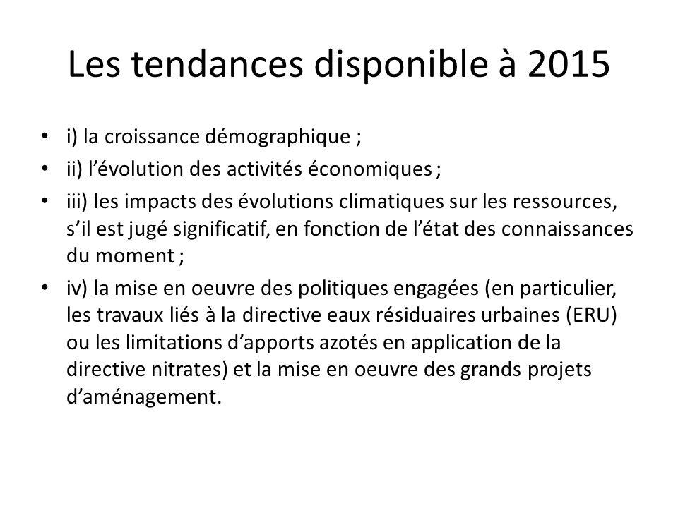 Les tendances disponible à 2015 i) la croissance démographique ; ii) lévolution des activités économiques ; iii) les impacts des évolutions climatique