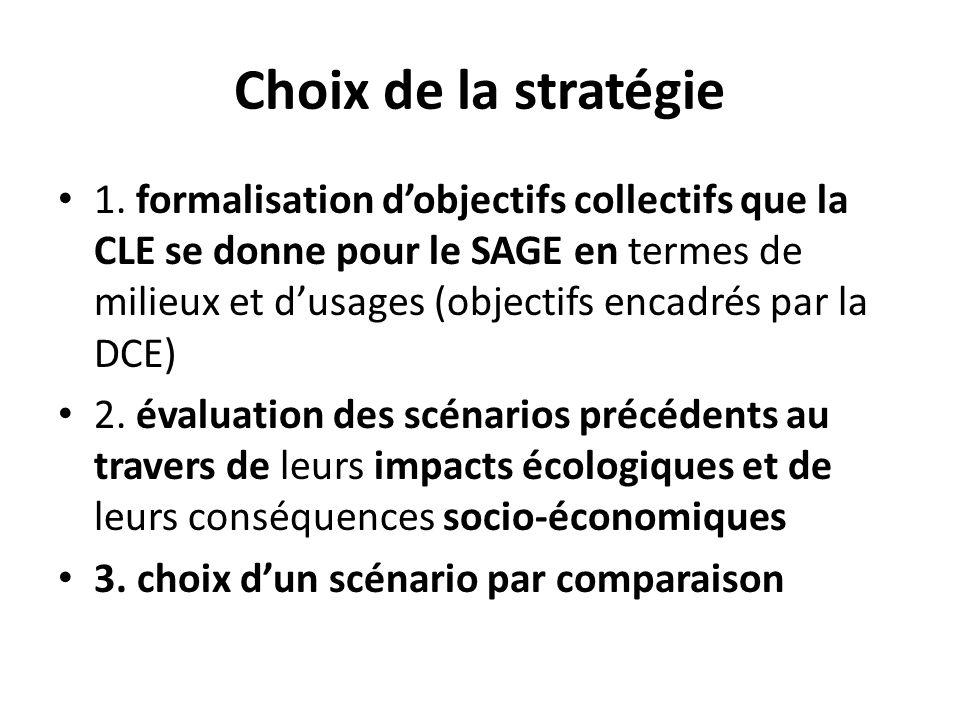 Choix de la stratégie 1. formalisation dobjectifs collectifs que la CLE se donne pour le SAGE en termes de milieux et dusages (objectifs encadrés par