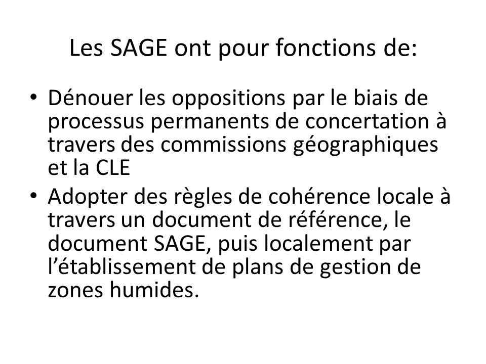 Les SAGE ont pour fonctions de: Dénouer les oppositions par le biais de processus permanents de concertation à travers des commissions géographiques e