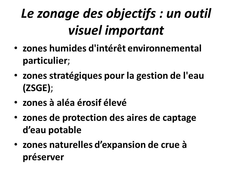 Le zonage des objectifs : un outil visuel important zones humides d'intérêt environnemental particulier; zones stratégiques pour la gestion de l'eau (