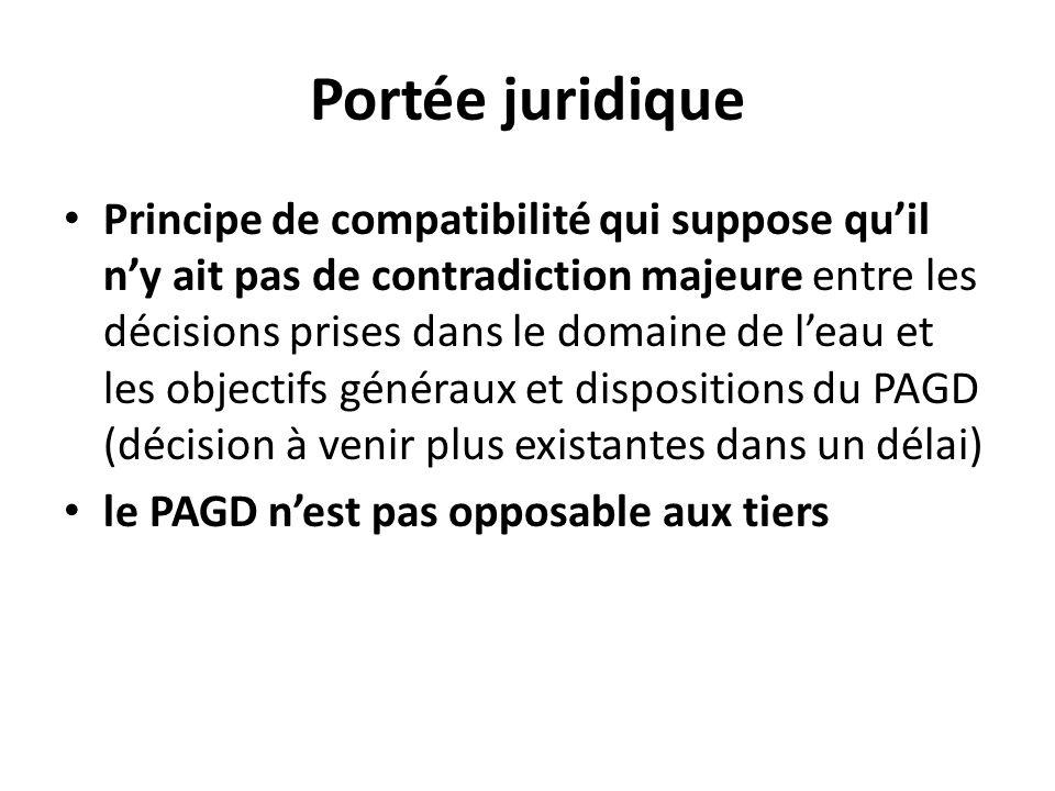 Portée juridique Principe de compatibilité qui suppose quil ny ait pas de contradiction majeure entre les décisions prises dans le domaine de leau et