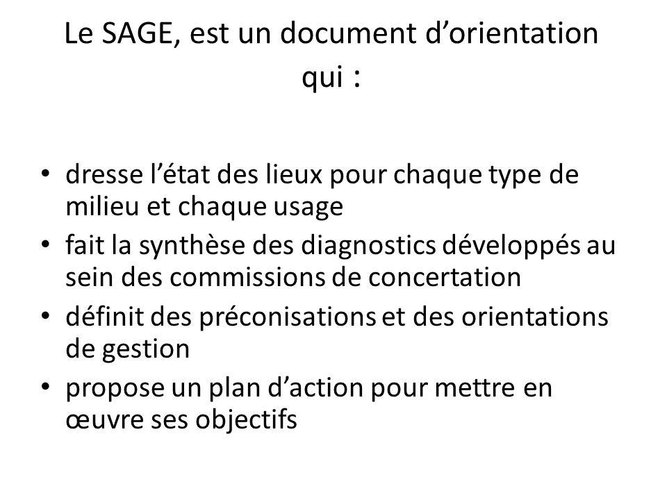 Le SAGE, est un document dorientation qui : dresse létat des lieux pour chaque type de milieu et chaque usage fait la synthèse des diagnostics dévelop