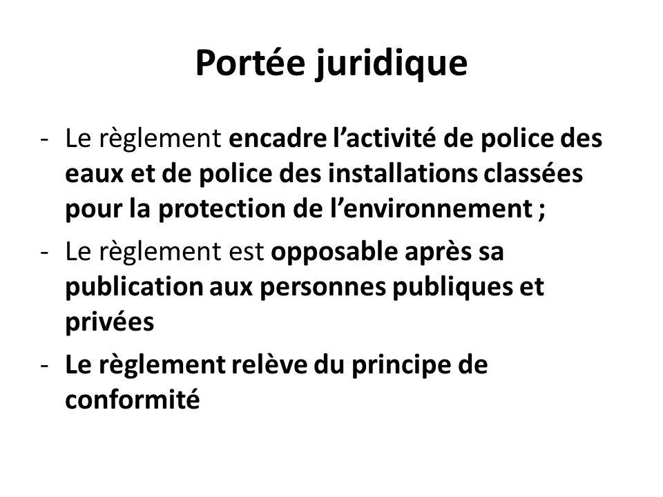Portée juridique -Le règlement encadre lactivité de police des eaux et de police des installations classées pour la protection de lenvironnement ; -Le