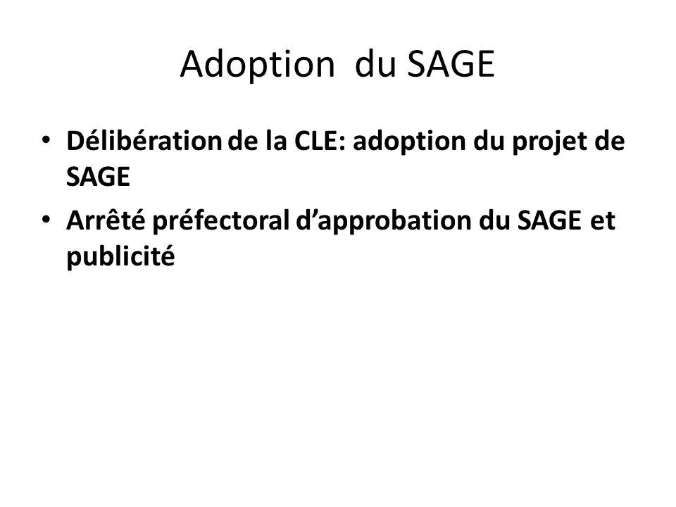 Adoption du SAGE Délibération de la CLE: adoption du projet de SAGE Arrêté préfectoral dapprobation du SAGE et publicité