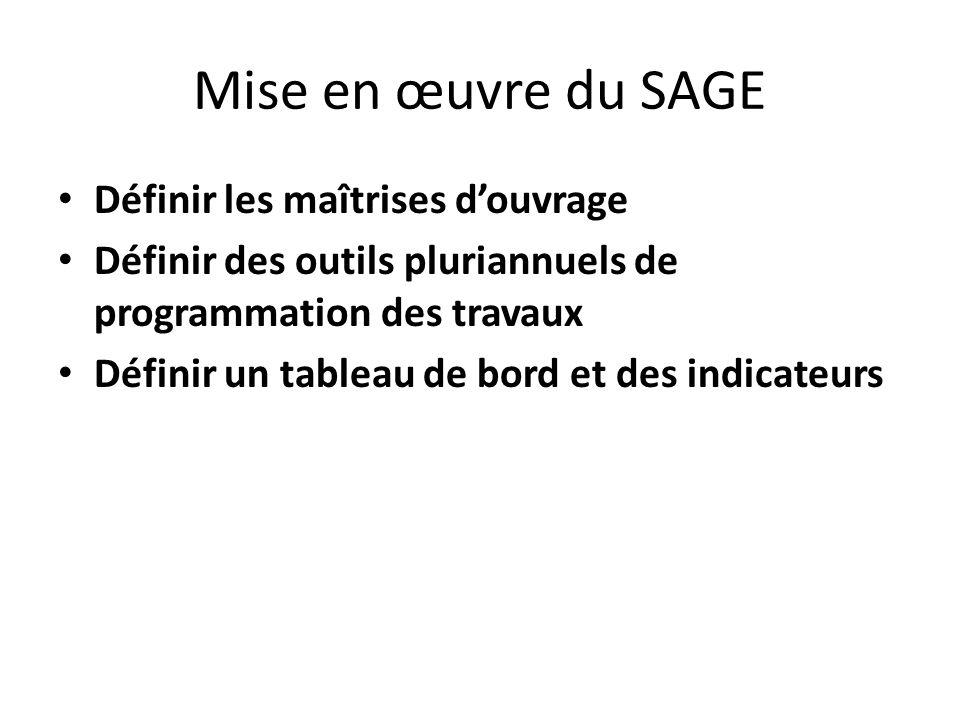 Mise en œuvre du SAGE Définir les maîtrises douvrage Définir des outils pluriannuels de programmation des travaux Définir un tableau de bord et des in