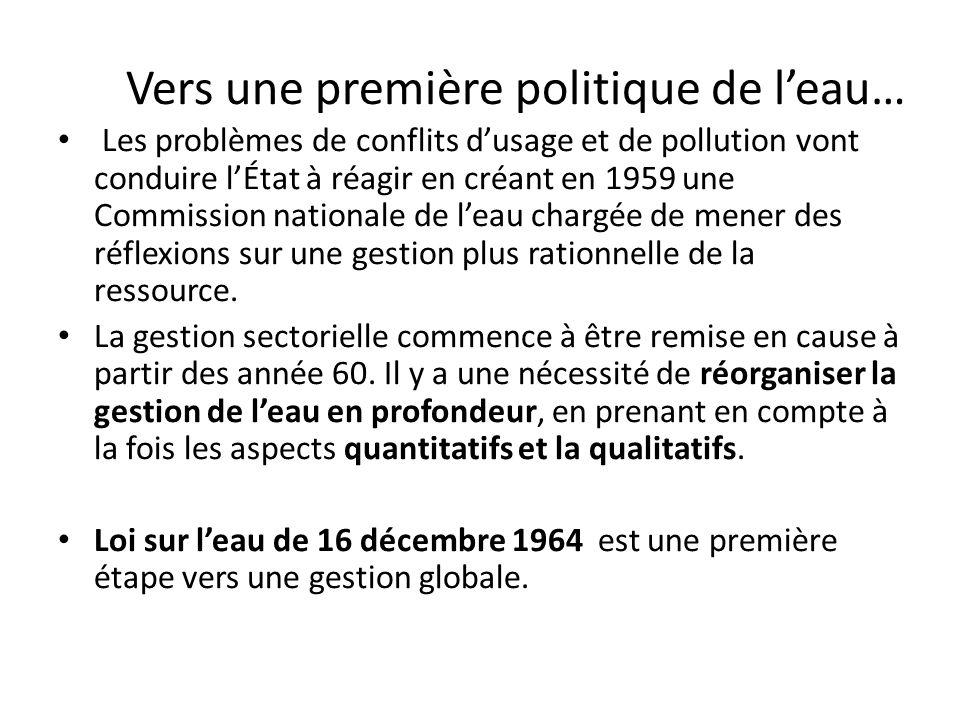 Vers une première politique de leau… Les problèmes de conflits dusage et de pollution vont conduire lÉtat à réagir en créant en 1959 une Commission na