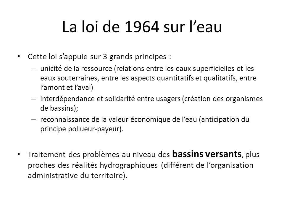 La loi de 1964 sur leau Cette loi sappuie sur 3 grands principes : – unicité de la ressource (relations entre les eaux superficielles et les eaux sout