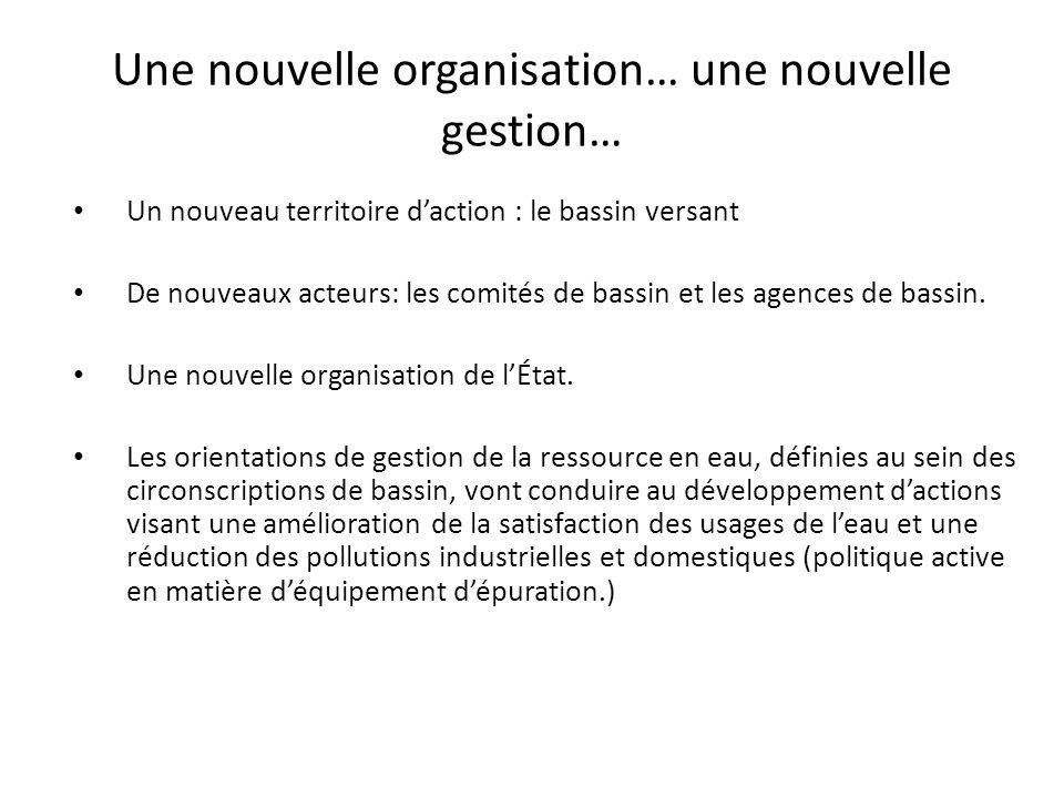 Une nouvelle organisation… une nouvelle gestion… Un nouveau territoire daction : le bassin versant De nouveaux acteurs: les comités de bassin et les a