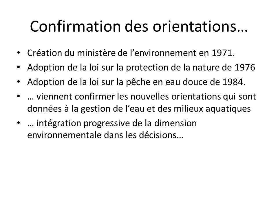 Confirmation des orientations… Création du ministère de lenvironnement en 1971. Adoption de la loi sur la protection de la nature de 1976 Adoption de