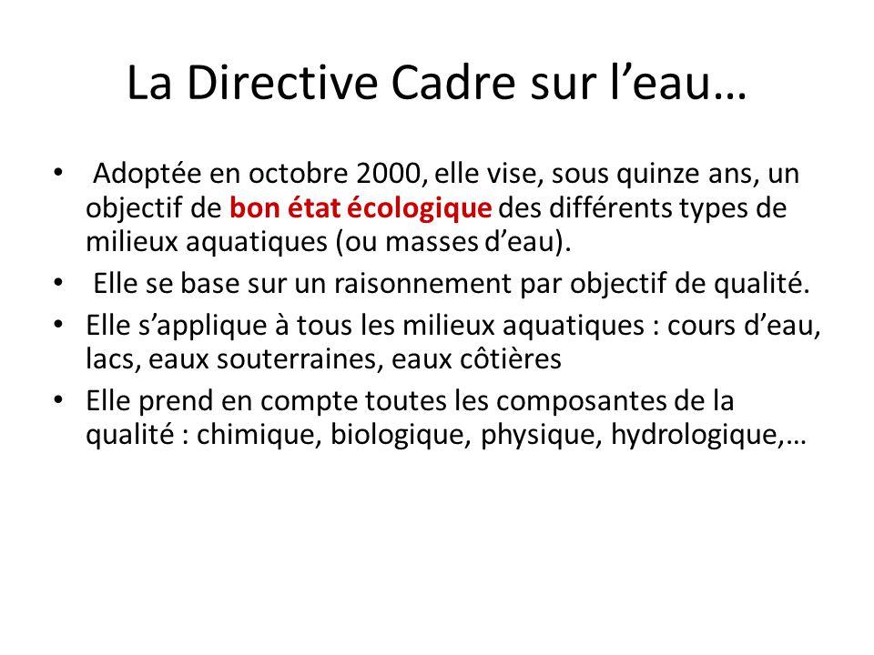 La Directive Cadre sur leau… Adoptée en octobre 2000, elle vise, sous quinze ans, un objectif de bon état écologique des différents types de milieux a
