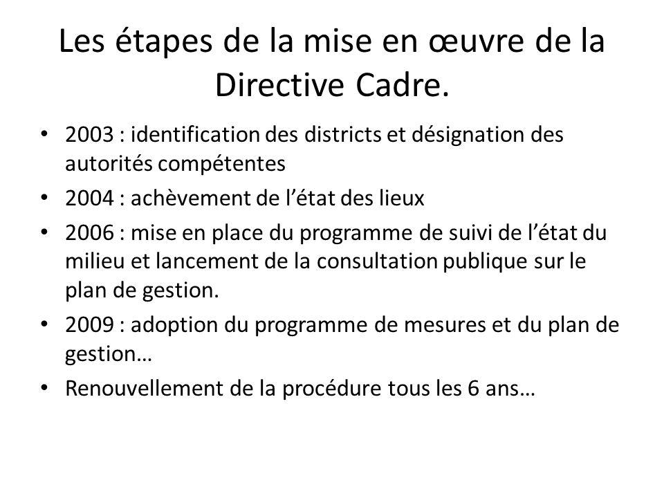 Les étapes de la mise en œuvre de la Directive Cadre. 2003 : identification des districts et désignation des autorités compétentes 2004 : achèvement d