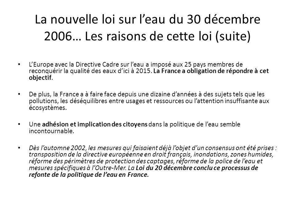 La nouvelle loi sur leau du 30 décembre 2006… Les raisons de cette loi (suite) LEurope avec la Directive Cadre sur leau a imposé aux 25 pays membres d