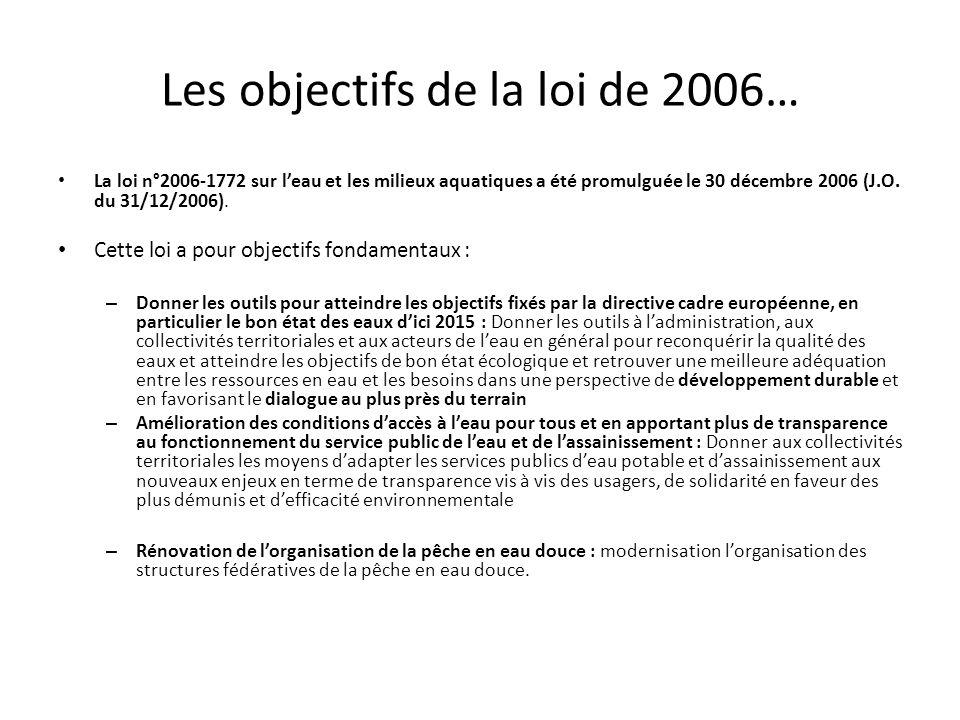 Les objectifs de la loi de 2006… La loi n°2006-1772 sur leau et les milieux aquatiques a été promulguée le 30 décembre 2006 (J.O. du 31/12/2006). Cett