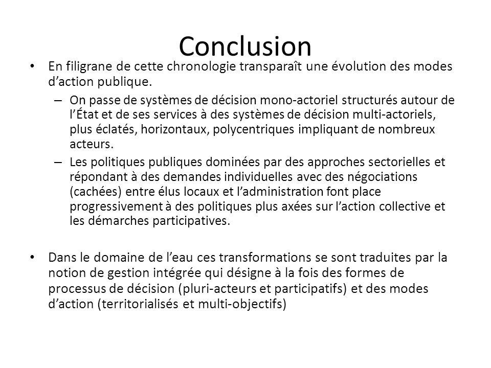 Conclusion En filigrane de cette chronologie transparaît une évolution des modes daction publique. – On passe de systèmes de décision mono-actoriel st