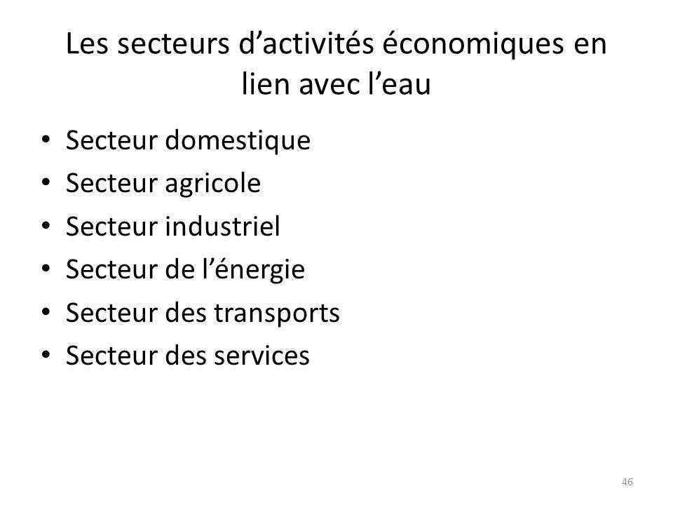 46 Les secteurs dactivités économiques en lien avec leau Secteur domestique Secteur agricole Secteur industriel Secteur de lénergie Secteur des transp