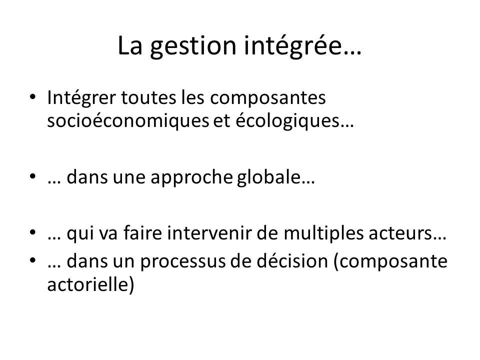 La gestion intégrée… Intégrer toutes les composantes socioéconomiques et écologiques… … dans une approche globale… … qui va faire intervenir de multip