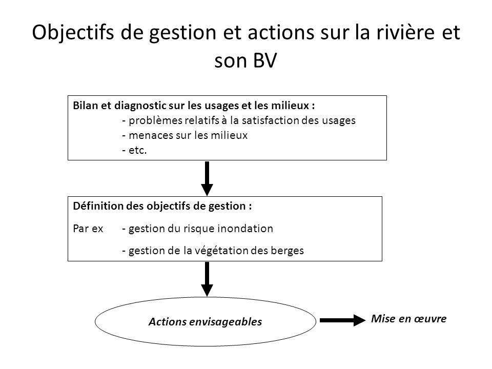 Objectifs de gestion et actions sur la rivière et son BV Bilan et diagnostic sur les usages et les milieux : - problèmes relatifs à la satisfaction de