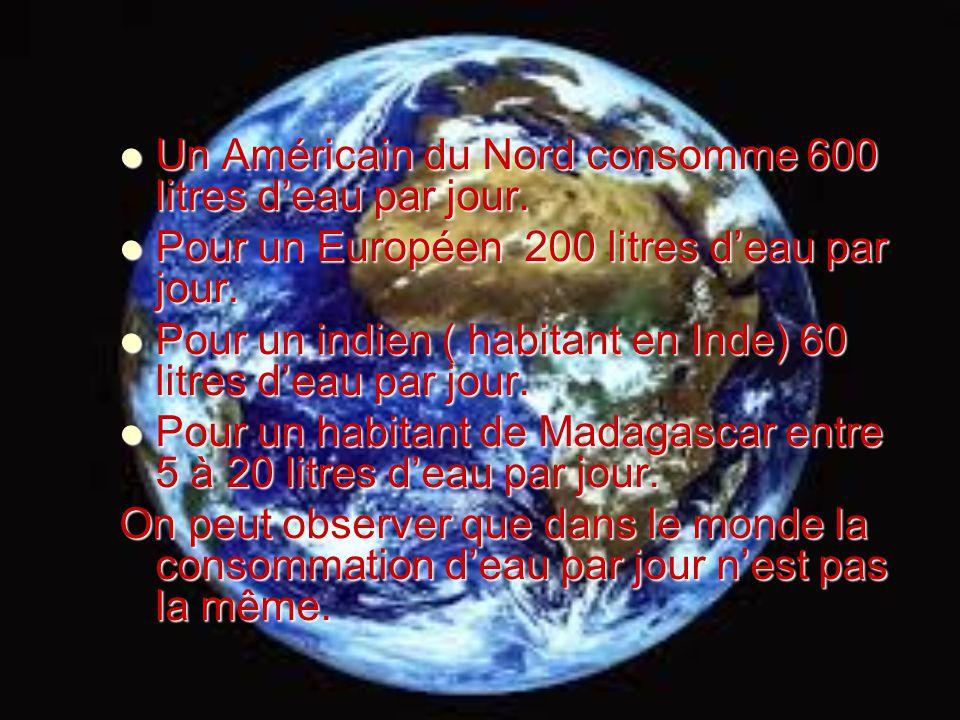Un Américain du Nord consomme 600 litres deau par jour. Un Américain du Nord consomme 600 litres deau par jour. Pour un Européen 200 litres deau par j