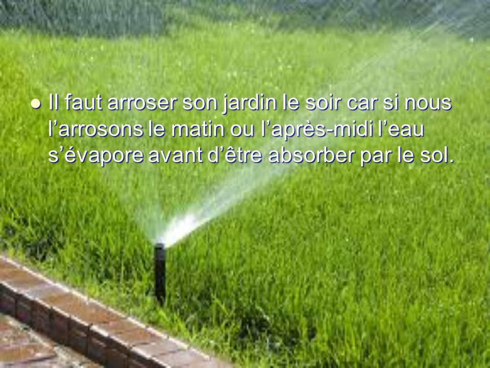 Il faut arroser son jardin le soir car si nous larrosons le matin ou laprès-midi leau sévapore avant dêtre absorber par le sol. Il faut arroser son ja