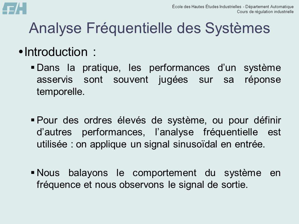École des Hautes Études Industrielles - Département Automatique Cours de régulation industrielle Analyse Fréquentielle des Systèmes Introduction : Dan
