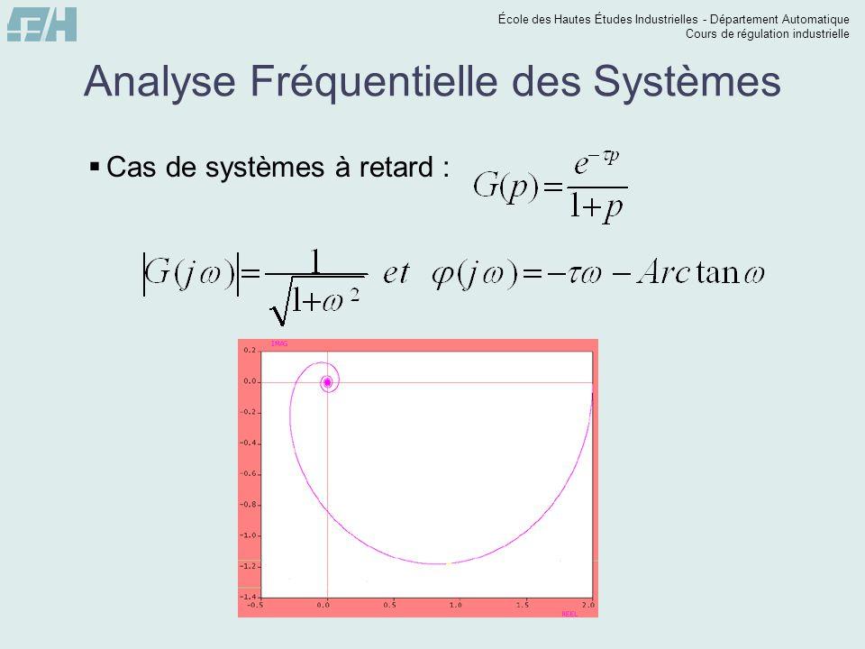 École des Hautes Études Industrielles - Département Automatique Cours de régulation industrielle Analyse Fréquentielle des Systèmes Cas de systèmes à