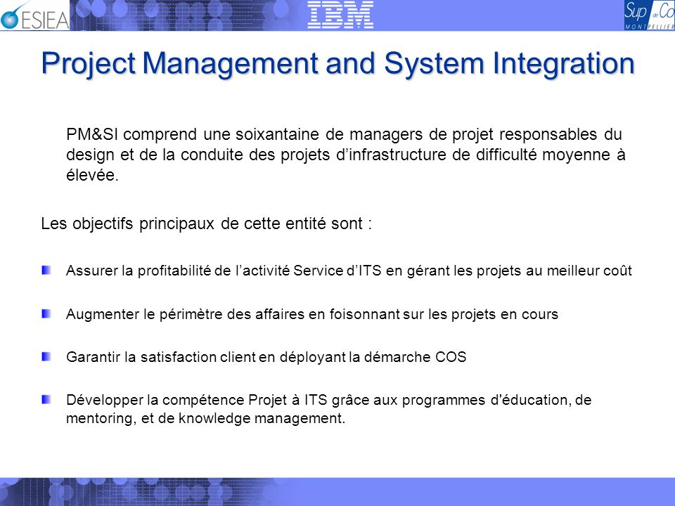 Project Management and System Integration PM&SI comprend une soixantaine de managers de projet responsables du design et de la conduite des projets di