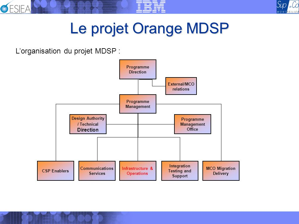 Le projet Orange MDSP Programme Management Office Design Authority / Technical Direction Integration Testing and Support CSP Enablers Communications S