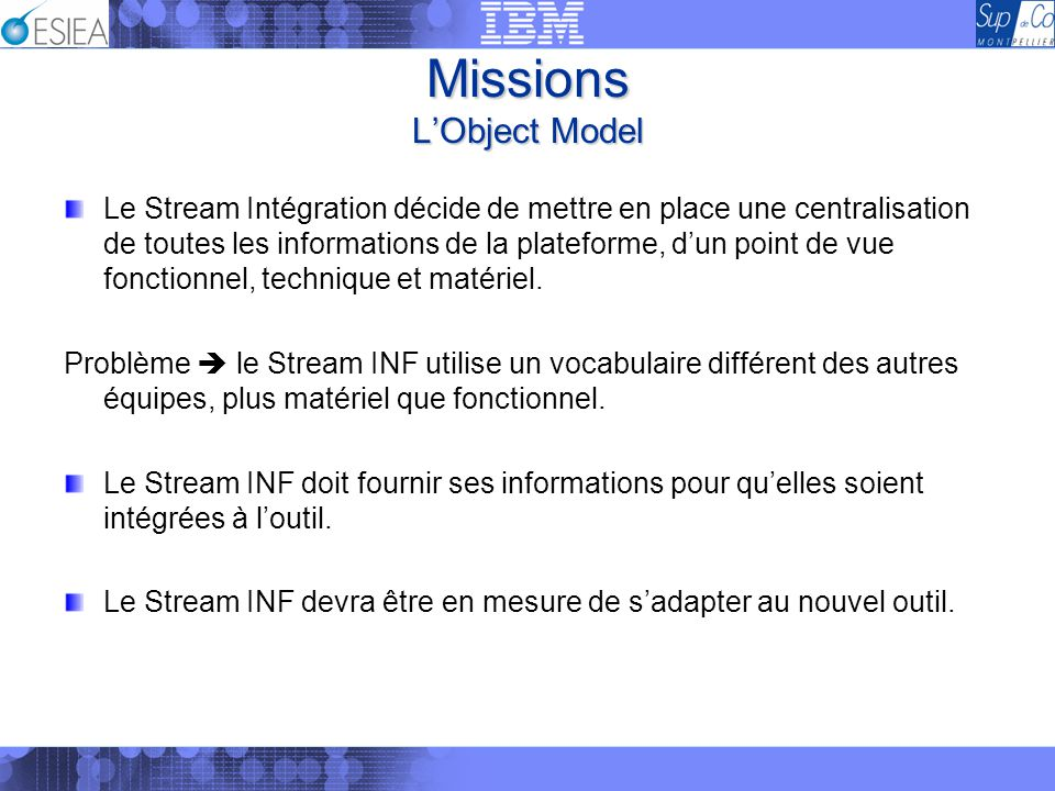 Missions LObject Model Le Stream Intégration décide de mettre en place une centralisation de toutes les informations de la plateforme, dun point de vu