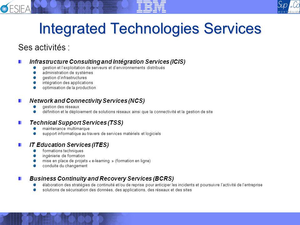 Integrated Technologies Services Ses activités : Infrastructure Consulting and Intégration Services (ICIS) gestion et lexploitation de serveurs et den