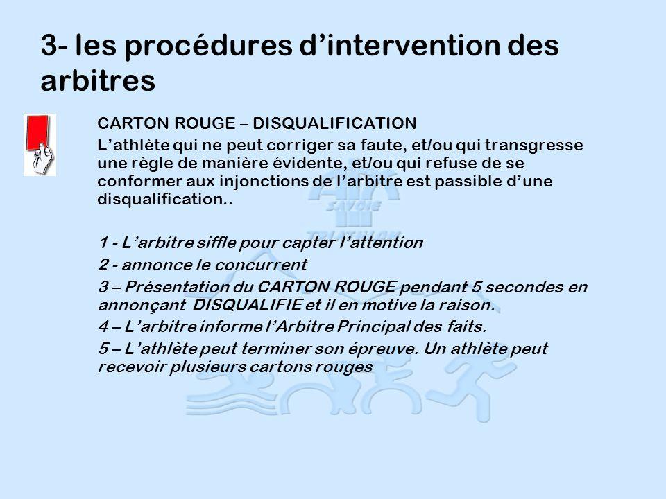 3- les procédures dintervention des arbitres CARTON ROUGE – DISQUALIFICATION Lathlète qui ne peut corriger sa faute, et/ou qui transgresse une règle de manière évidente, et/ou qui refuse de se conformer aux injonctions de larbitre est passible dune disqualification..
