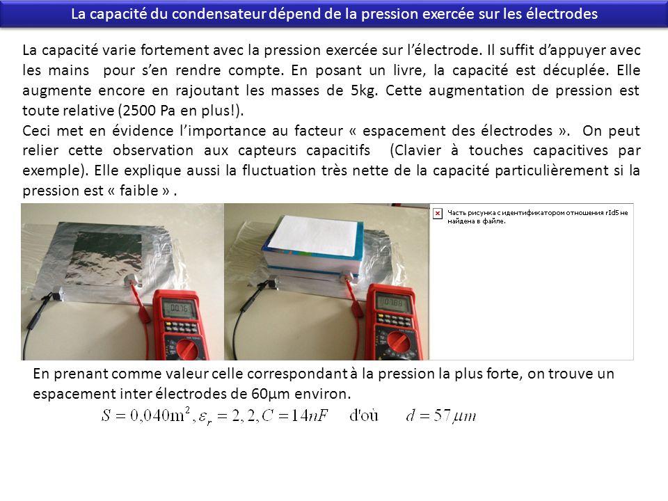 La capacité du condensateur dépend de la pression exercée sur les électrodes La capacité varie fortement avec la pression exercée sur lélectrode. Il s